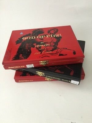 "God Of Fire by Carlito Dbl Robusto Wooden Cigar Box 8.75"" x 6.5"" x 1.25"""