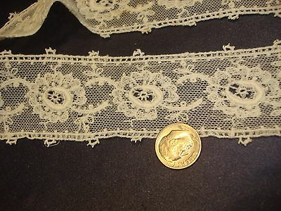 """Off White Schiffli Lace Passementerie Trim 1 1/2"""" by 28"""" Good for Doll Dress"""