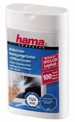 Hama LCD/ TFT Screen Alcohol Free Cleaning Cloths 100 in Dispenser Box