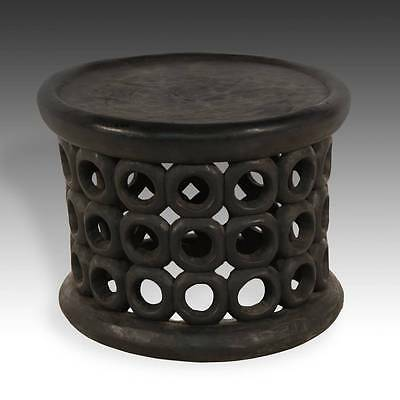 Vintage Wood Stool Or Side Table Bamileke Fon Spider Cameroon W. Africa 20Th C