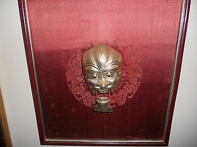 Antique, Rare, Silver Metal Mask, Framed on Red Velvet.