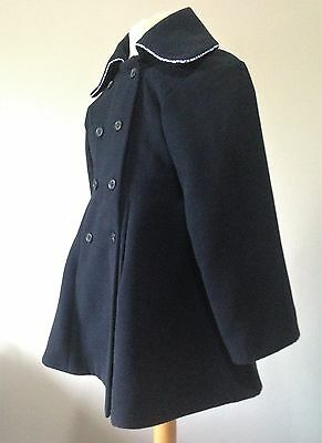 Girls Blue Double Breasted Formal CoatAge 7 to 8