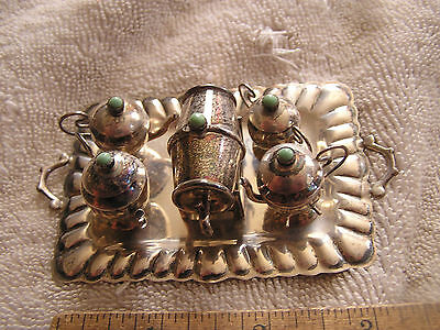 Miniature Sterling Silver Piece Tea Coffee Set Hecho en Mexico .925