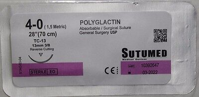 SUTUMED POLYGLACTIN 4-0, 3/8 13mm needle Surgical Suture