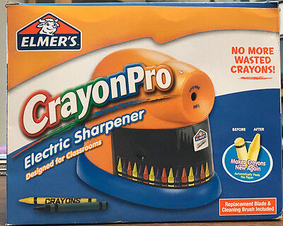 Elmer's CrayonPro Electric Crayon Sharpener w/Replacement Blade & Cleaning Brush