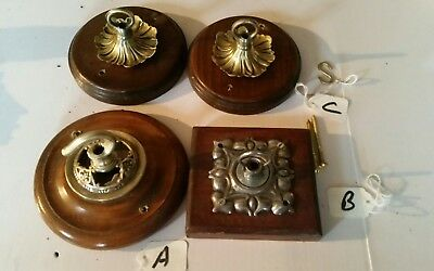 1 ONLY OF 4 Oak wood WOODEN Chandelier hook GOTHIC ceiling rose c1930 RARE large