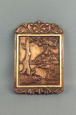 Vintage Wooden Carved Romanian Plaque