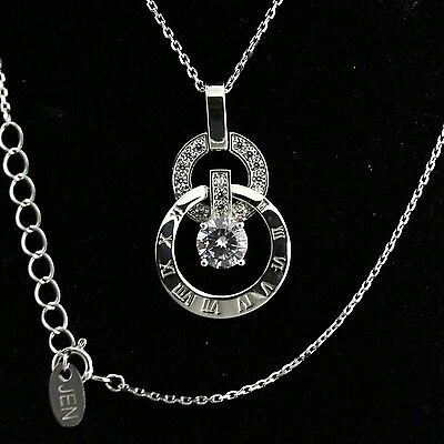 Roman Numeral Pendant Round White Cubic zirconia Necklace 925 Sterling Silver