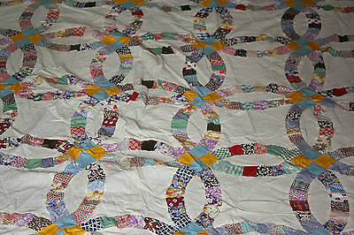 Sweet Double Wedding Ring All Hand Stitched Quilt Top  Of Feedsacks ,flour Sacks