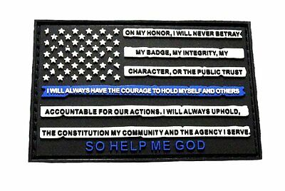 Police Thin Blue Line American Flag Leo Oath Patch (HOOK-PVC Rubber)