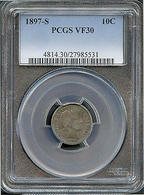 1897 S 10c VF 30 PCGS (VERY FINE) BARBER LIBERTY HEAD SILVER DIME