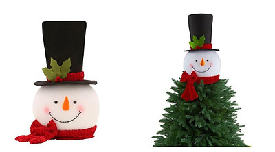 """18"""" Tall SNOWMAN Christmas TREE TOPPER Black Top Hat W/ RED SCARF Ornament Decor"""