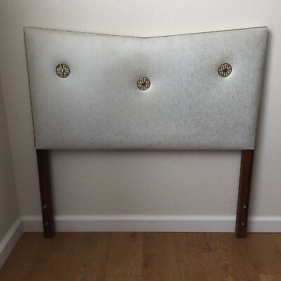 Mid Century Twin Headboard Atomic Upholstered White Gold Vintage Home Decor