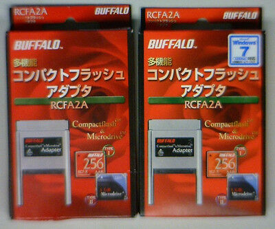 Lot Of 2 Buffalo Compactflash And Microdrive Type 2 Adapters Bnib / Nos