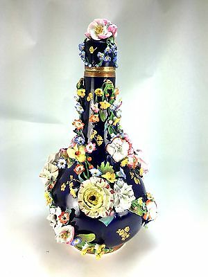 Antique The King Street Factory Royal Crown Derby Flower Encrusted Decanter 1840