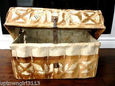 1800s HIDE SKIN DOCUMENT CHEST TRUNK early w/very OLD STIRRUP & strap WESTERN