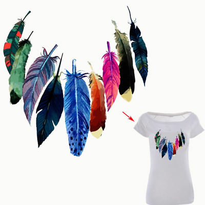 New Heat Transfer Feather Iron on Patches for DIY Cloth Decoration Printings