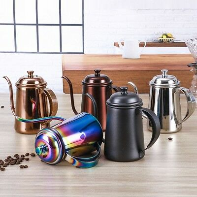 New Gooseneck Kettle 650ml Pour Over Coffee Tea Hand Drip Pot Stainless Steel