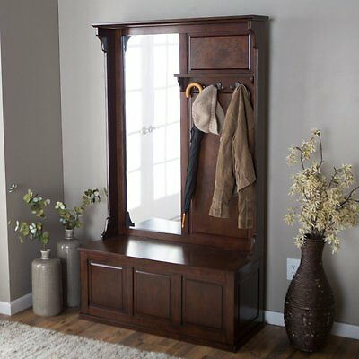 Wide Hall Tree Coat Rack Storage Bench Entryway Foyer Hidden Storage 6 Hooks
