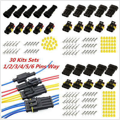 30Sets Waterproof 1/2/3/4/5/6 Pins Way Sealed Electrical Wire Connector Plug Kit