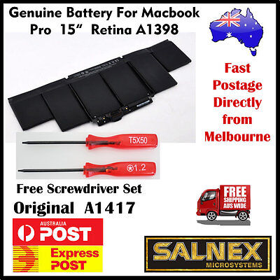"""Genuine Battery A1417 for Apple MacBook Pro15"""" Retina A1398- 2012 & Early 2013"""