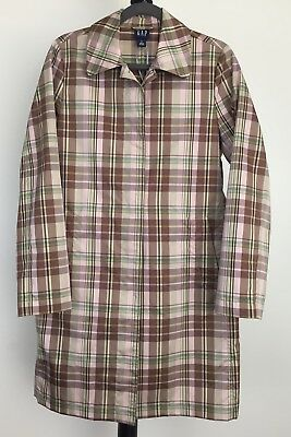 0ce244881a NWOT Gap size M plaid trench style raincoat 2 front pockets lightweight  78