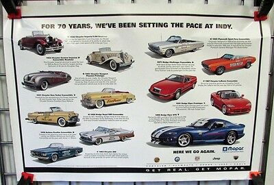 1996 Chrysler Dealer Poster History Indy 500 Pace Cars Viper Dodge Plymouth Rare