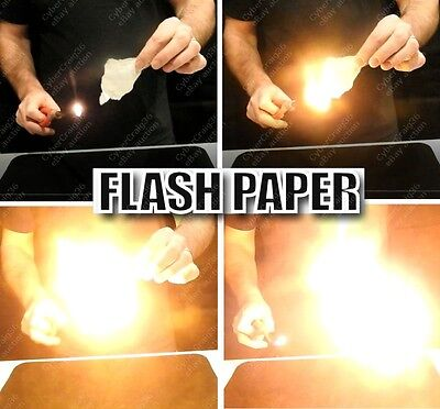 FLASH PAPER 1 2 5 10 or 20 SHEETS & PLUS FREE BURNT CARD FIRE MAGIC TRICK VIDEO