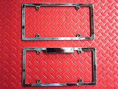 License Plate Tag Frame Set Chromed Front Billet With Matching Lighted Rear New