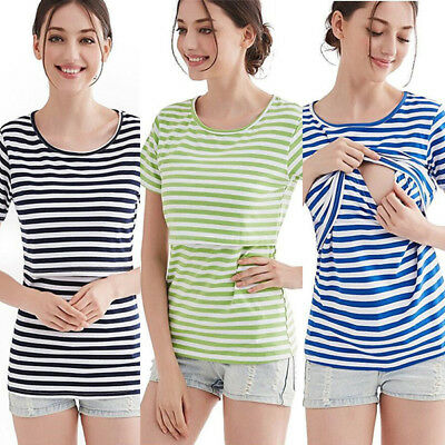 Maternity Clothes For Pregnant Women Nursing Top Breastfeeding T-Shirt Striped