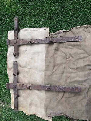 Large Vintage Antique 3ft Wrought iron barn door hinges Blacksmith made