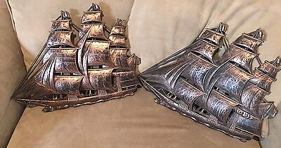 "Pair Vintage 16"" #4261 Dart Ind Syroco Inc Coppercraft Guild Ship Wall Hangings"