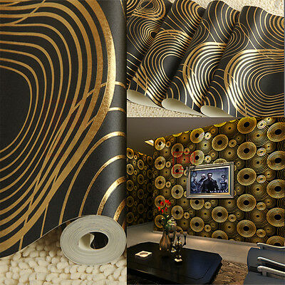 Quality Wallpaper Roll Black with Gold Rings Great Details Long Lasting 5.3sqm