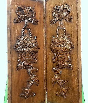 CARVED WOOD PANEL MATCHED PAIR ANTIQUE FRENCH BOW BASKET SALVAGED CARVING 19th