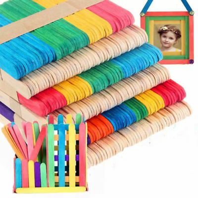 50PCS Large Wooden Popsicle Sticks Kids Hand Crafts Ice Cream Lolly DIY Making