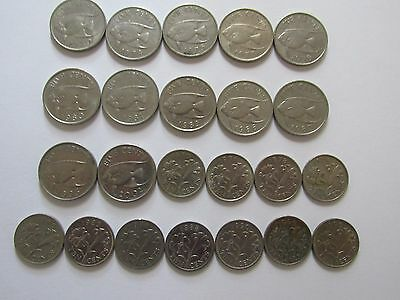 Lot of 23 Different Bermuda Coins - 1970 to 2002 - Circulated