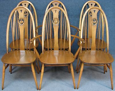 Set Of 6 (4&2) Ercol Windsor Swan 876 Elm & Beech Kitchen / Dining Chairs G Dawn