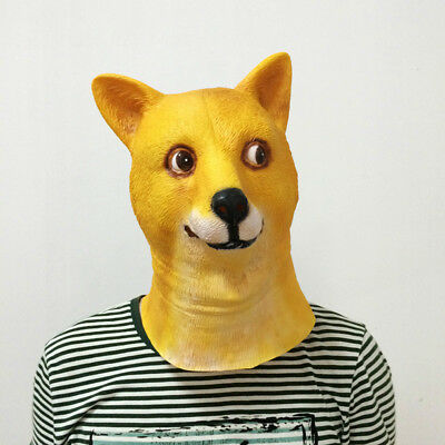 Dog Head Mask Latex God Cover Creative Cosplay For Halloween Party Toy Show