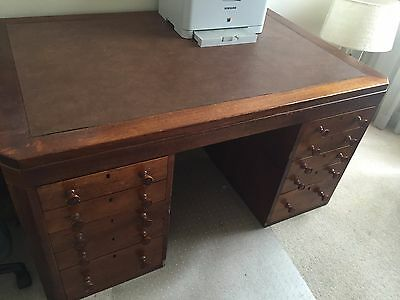 Antique  Early 1900's possibly late 1800's Ex- bank Partner solid timber Desk