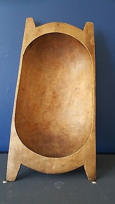 Vintage antique dough bowl bin trough carved wood primitive rustic planter