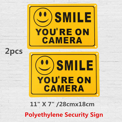 2X SMILE YOU'RE ON CAMERA Business Warning Security Yellow Sign 11''X7'' Decal