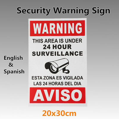 English W/ Spanish Security Sign Warning This Area Is Under 24 Hour Surveillance