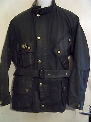 Barbour A7 International Suit Waxed Motorcycle Jacket Size C46 117Cm + Badge