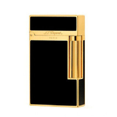 Dupont Ligne 2 Gas Lighters Cigarette Chinese Lacquer Ping Sound #013 Black&Gold