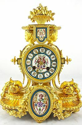 Fine French Japy Freres 19thc gilt ormolu bronze & Sevres porcelain mantle clock