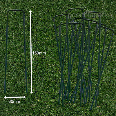Fully Green Artificial Grass Turf U Pins Metal Galvanised Pegs Staples Weed