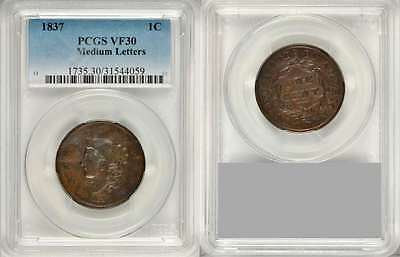 Beautiful 1937 Liberty Young Head Design Medium Letters Large Cent PCGS VF 30