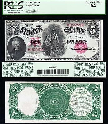 "Amazing VCH/UNC $5 1907 ""WOODCHOPPER"" US Note! PCGS 64! FREE SHIP! H1522379"