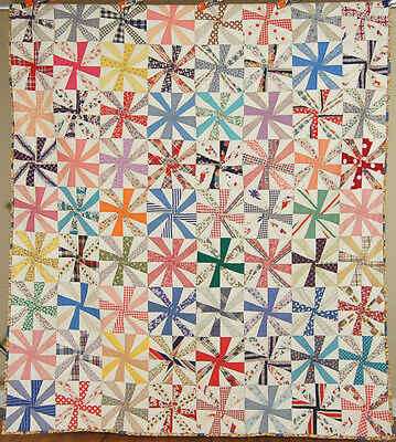 DAZZLING Vintage 30's Pinwheel Windmill Antique Quilt ~CHEERY NOVELTY PRINTS!