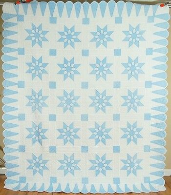 Large WELL QUILTED Vintage Blue & White Star Flower Antique Quilt ~NICE BORDER!